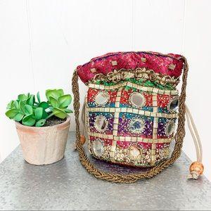 Handbags - Boho satin drawstring pouch with beaded handles